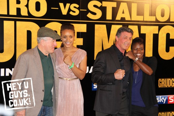 Britain's Natasha Jonas & Nicola Adams (right) man handle Hollywood stars Robert De Niro & Sylvester Stallone (c) Hey U Guys