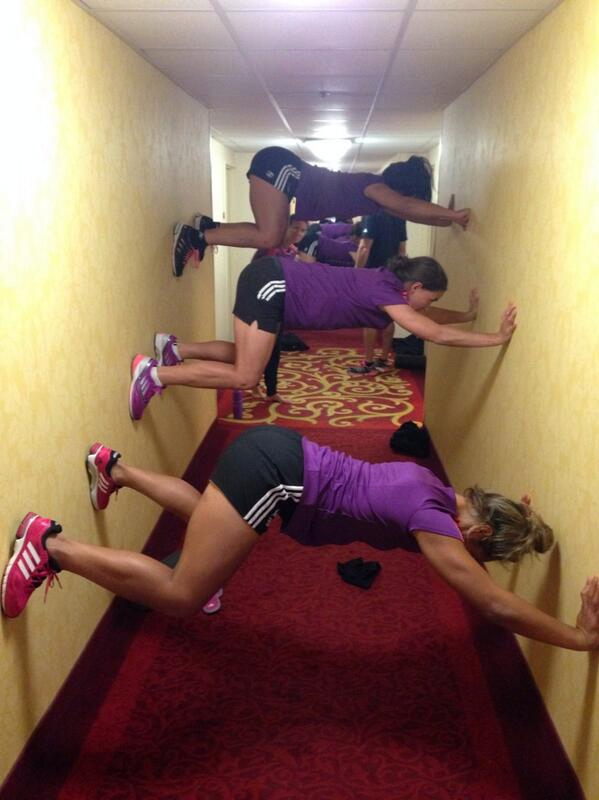New Zealand's Sevens team take to their hotel corridor for core strength training when a storm prevents them from training outside (c) Taranaki Rugby