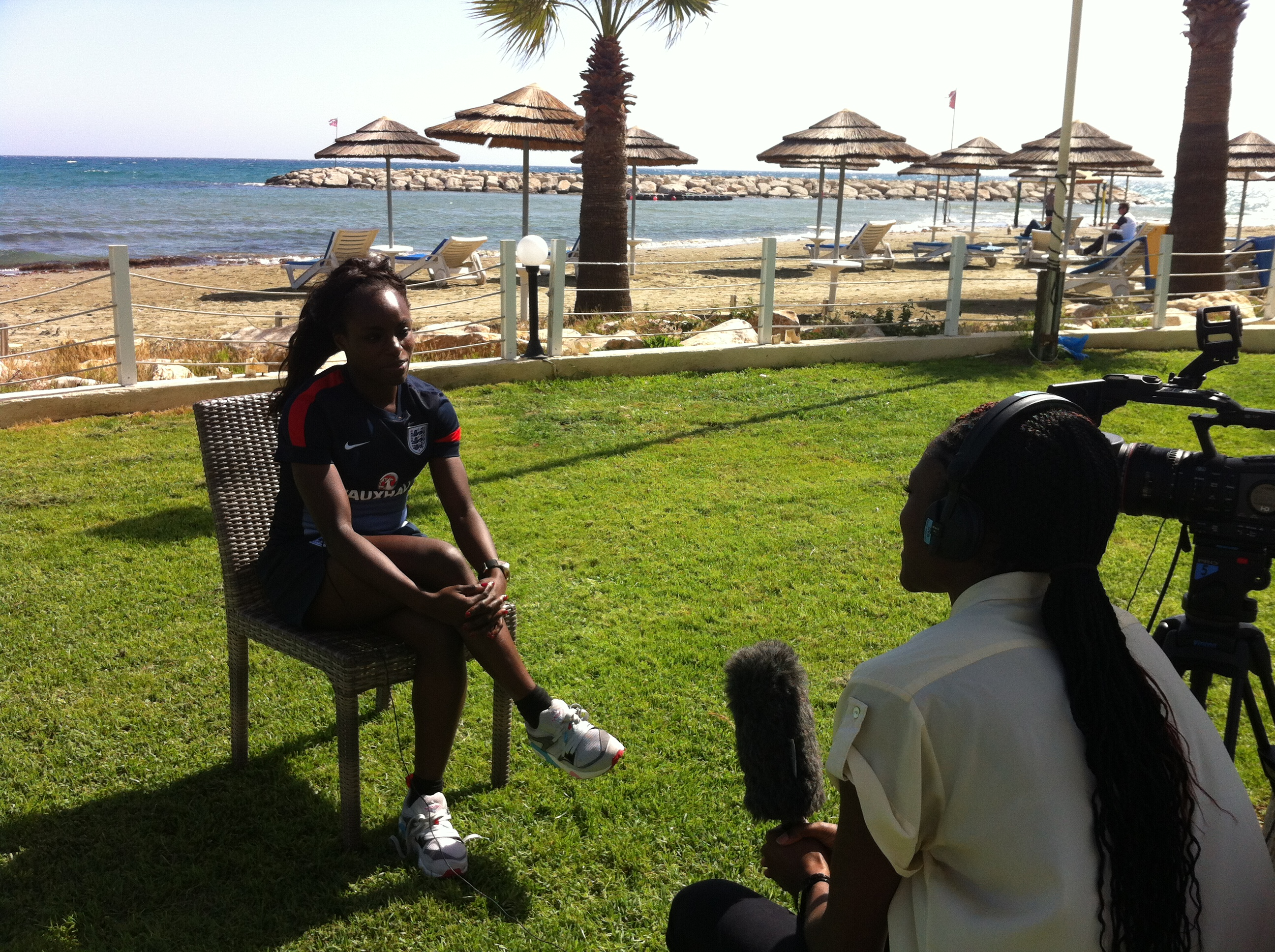 I spoke to England and Chelsea striker Eni Aluko