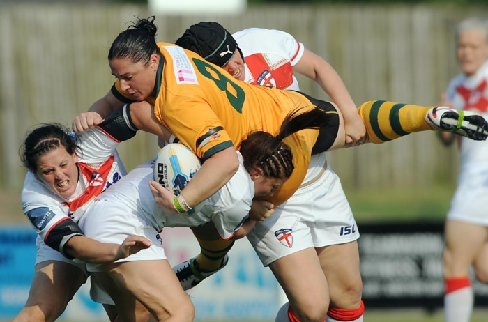 England's women rugby league players lay down the law against Australia during the 2013 Women's World Cup (c)  RFL
