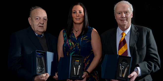 England legend Natalie Gilmour (centre), who has appeared on every tour and in every international tournament since 2000, becomes the first woman player to be inducted into the Roll of Honour (c) RFL